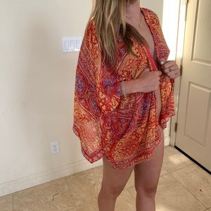 Orange red tribal festival beach coverup cardigan